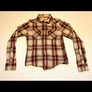 Hollister Plaid Long Sleeve Button Up Youth Large